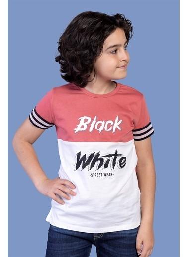 Toontoy Kids Toontoy Erkek Çocuk Kolları Şerit Detaylı İki Renkli Baskılı Tişört Mercan